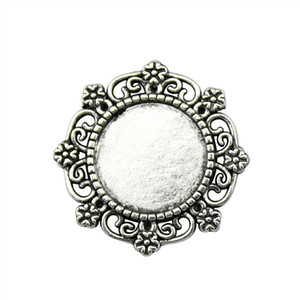 18 Pieces Cabochon Cameo Base Tray Bezel Blank Accessories Jewelry Flower Small Grass Single Side Inner Size 15mm Round glass cabochons