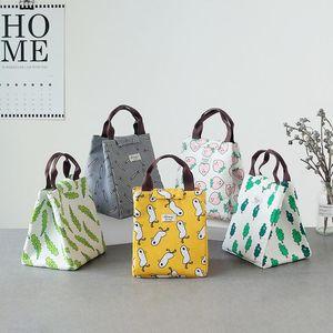 실용적인 캔버스 점심 가방 휴대용 핸드 헬드 피크닉 가방 방수 옥스포드 야외 운반 6 따뜻한 음식 컨테이너를 유지 2ls ZZ