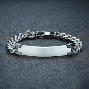 Ton Argent Cubain Lien ID Tag Bracelet pour Hommes En Acier Inoxydable Gravable Inspiration Personnalisée Bracelets Mâle Bijoux