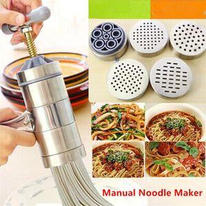 Ev mutfak DIY Newcreativetop Paslanmaz Çelik Manuel Erişte Basın Makinesi Makarna Maker 5 Şehriye Kalıp ile