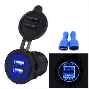 12-24V USB impermeable cargador para el cargador del zócalo de la motocicleta auto del carro ATV Barco del coche LED dual 4.2A Adaptador de corriente USB Enchufe de corriente del coche-cargador