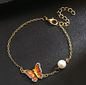 2018 Moda farfalla Pittura a olio Bracciali perla Braccialetti Bracciali Donna Gioielli per il regalo di Natale Tutti i Santi NK146