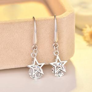 S925 Gümüş Avusturya Rhinestone Kristal Yıldız Charm Bırak Küpe Takı Klasik Moda Kadınlar Kız Çocuk Hediye