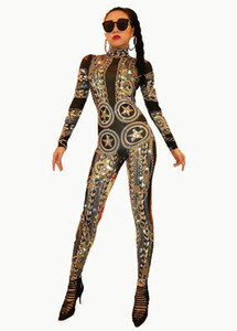 Ds Dj Dress Gold Spandex Impreso Stretch Rhinestones Mono Mujeres Sexy Body Traje Etapa Outfit Cantante Bailarín Performance Mamelucos