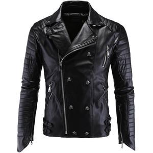 Erkekler PU Deri Ceket Biker Streetwear Kış Erkek Punk Stil Ceket Kafatası Düğmeleri Ile Fermuarlar Asya Boyutu M-5XL