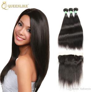 Clousre frontale di pizzo umano 13x4 capelli umani brasiliani non trasformati con 3 pacchi di seta Sliky dritto 1B colore tingibile nuovo arrivo Queenlike
