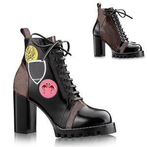 talon haut talons chaussures luxur femmes chaussures Designer bottes courtes en cuir anti-dérapant bottes Martin bottes de luxe femme bottes grande taille 34-42