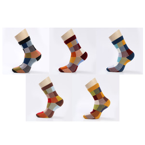 5 Pair  Lot Cotton Men Socks Autumn And Winter Compression Spandex Socks Colorful Square Happy Dress Socks Men Size 39 -45