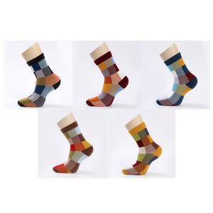5 Pair  Lot Cotton Men Socks Autumn And Winter Compression Spandex Socks Colorful Square Happy Dress Socks Men Size 39 -45