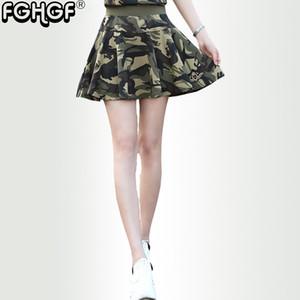 FGHGF Marca estilo Verão Mulheres acima do joelho mini Slim camuflagem saia Casual Plissado saia camo das Mulheres 4602