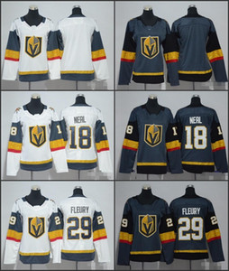 2019 NUEVAS mujeres Vegas Golden Knights Jerseys de hockey 29 Marc-Andre Fleury 18 James Neal Ladies Grey White Stitched Girls Hockey Jersey Stitch