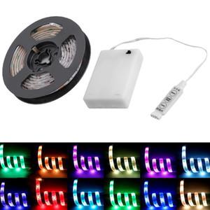 LED-Streifen 5050 Batteriebetriebener LED-Streifen RGB 0.5M / 1M / 2M Wasserdichter LED-flexibler Streifen beleuchtet Dekorationsbeleuchtung mit Prüfer