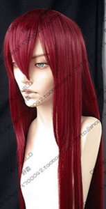 217 New long Dark Red cosplay party Straight Wig 80cm