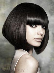 Muhteşem Saç Stilleri Bob Kısa Ipeksi Düz Peruk Yapar Size Muhteşem İnsan HairFree nakliye Yeni Yüksek Kalite Moda Resim peruk