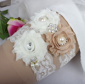 Champagne Bridal Leg Garters Chiffon Fiori fatti a mano Prom Giarrettiera da sposa Giarrettiera da sposa 2 Pezzi set Strass di pizzo In magazzino a buon mercato