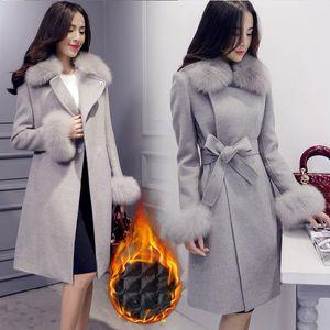 Elegante Moda Largo Abrigo de lana Collar Desmontable Cuello de piel Mezcla de lana Abrigo y chaqueta Abrigos de mujer sólida Otoño Invierno