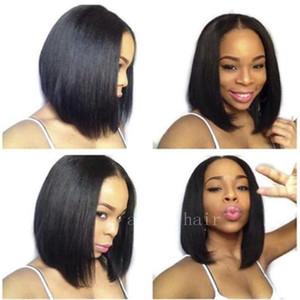 Perruques de cheveux humains avec la dentelle frontale Brésilienne Droite Head Hair Perruques pour femmes noires Bob Short Bob pré-cueilli noeuds blanchis