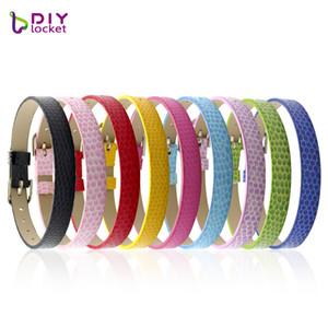 Diylocket 20pcs 8 MM PU cuero serpiente pulsera pulseras puede elegir el color DIY accesorio Fit diapositivas encantos carta LSBR03 * 20