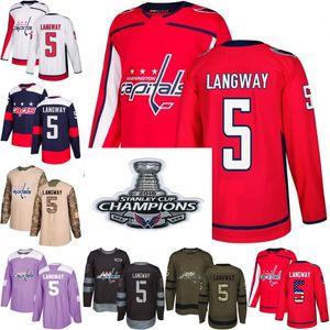 2018 Stanley Cup Campeões 5 rod langway washington capitais Verde EUA Bandeira Lutas Roxas Práticas de Câncer Camo Veterans Day hockey Jerseys