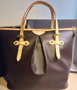 borsa a tracolla in pelle CLASSIC da donna di grandi dimensioni, con canne da 45 cm di colore marrone, borsa per portatile madre 40146