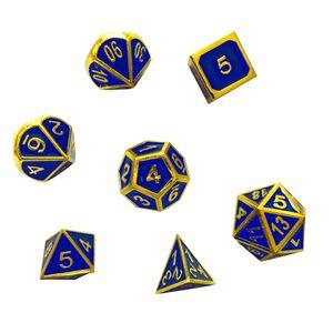 Siete dados metálicos Dados poliédricos D4 D6 D8 D10 D12 D20 para mazmorras y dragones DND RPG MTG Juegos de mesa Oro azul con bolsa