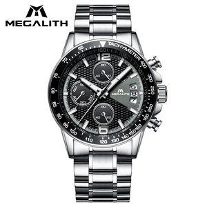 MEGALITH reloj para hombre con cronógrafo impermeable fecha correa de acero inoxidable reloj hombre moda casual muñeca cuarzo gents