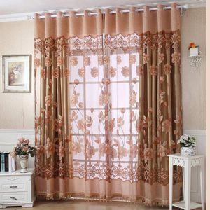 Lujo con agujero cuelga los granos Cortina floral cortina del sitio de la ventana Cortinas de la bufanda para la sala de estar