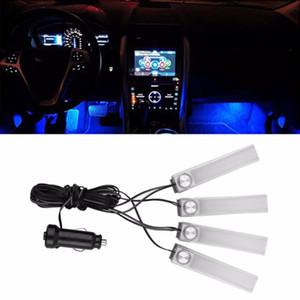 1 세트 4 1 차 자동 인테리어 충전 LED 분위기 라이트 장식 램프 자동차 스타일링 풋 램프 푸른 빛 자동 액세서리
