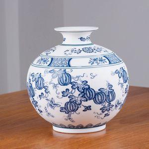 Style chinois Jingdezhen Classique Bleu Et Blanc En Porcelaine Kaolin Fleur Vase Décor À La Maison À La Main Vases