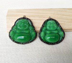 5pcs lot Carved Buddha green Stone Buddhist Pendant,With Rhinestone Crystal Pave Maitreya Buddha charm PD863