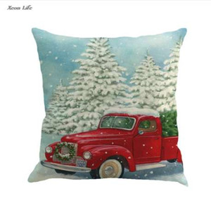 ISHOWTIENDA New 1PC 45cm*45cm Square Christmas Printing Dyeing Pillow Cover Christmas Pillow Case