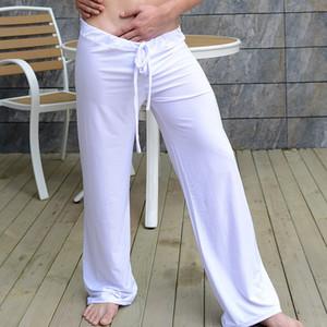 Schlaf Bottoms Männer Sexy Home Loose Pants Herren Lounge Milch Silk Fashion Strap Männlichen Pyjamas Mode Herren Sexy Nachtwäsche