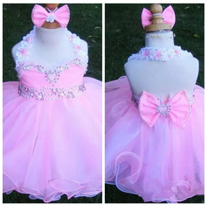 Halter 2019 Lovely Toddler Girls Pageant Dresses Beaded Sleeveless With Bow Organza Flower Girls Dress Cupcake Pageant Formal Wear Cheap