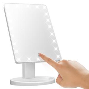 Make Up LED Espelho de Rotação de 360 Graus de Tela de Toque Compõem Cosmético Dobrável Portátil Compacto de Bolso Com 22 LED Espelho de Maquilhagem de Luz