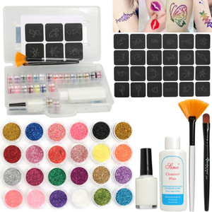 24 Colors  Temporary Shimmer Glitter Tattoo Kit For  Body Art Design Diamond Paint With Henna Stencil Glue & Brushes