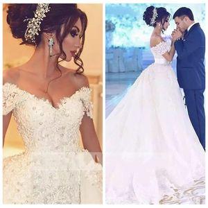 2018 오프 Shoulde 레이스 Appiques 웨딩 드레스 크리스탈 아름다운 신부 가운 두바이 중동 정원 두바이 Vestidos 드 Novia