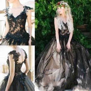 Gotik Stil Siyah Gelinlik Cap Sleeve V Boyun Vintage Retro Tasarım Balo Aplikler Dantel Gelinlikler Vestido de Nova Özel Boyut