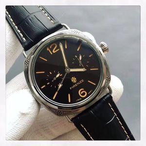 Top marca mais recente relógio dos homens de alta qualidade de negócios de moda máquinas automáticas 44 MM mineral super forte pulseira de couro de vidro