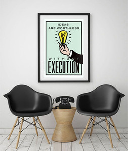 """غير المؤطرة / أليك الاحتكار """"الأفكار مقابل التنفيذ"""" ، hd قماش طباعة ديكور المنزل جدار الفن اللوحة ، ثقافة مكتب الفن"""