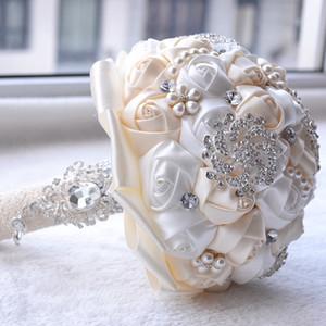 손수 만든 꽃과 실크 웨딩 신부 부케 고급 Peals 크리스탈 라인 석 장미 결혼식 브로치 들고 신부 BouquetCPA1547