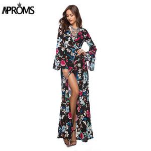 Aproms Flare Sleeve Wrap Tie Boho Long Maxi Dress Abiti da donna a maniche lunghe con stampa floreale Abiti da giorno Vestido