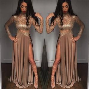 2k18 New Black Girls Sparkling Pailletten Sheer Long Sleeves Prom Kleider High Neck Split Formale Party Abendkleider
