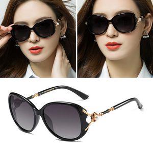 Os novos óculos de sol polarizados com óculos de sol redondos, celebridades femininas podem ser combinados com os óculos de rosto quadrado tela vermelha.