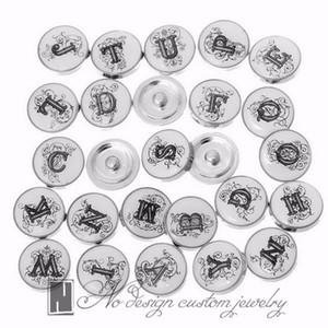No gioielli di design Snap Gioielli in cristallo bianco 26 Lettere alfabeto Bottoni a pressione per gioielli Button 18mm