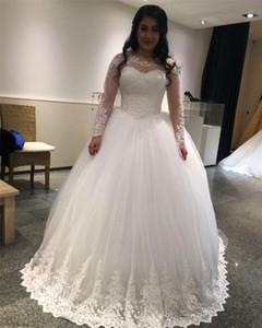 Romantique manches longues robe de mariée Princesse mariée Robes avec dentelle Belle robe de bal mariée Appliques Robes de mariée casamento