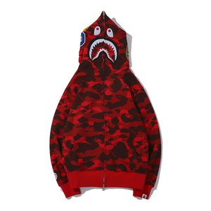 Newest Lover Camo Shark Print Cotton Sweater Hoodies Men's Casual Purple Red Camo Cardigan Hooded Jacket Sizes M-2XL