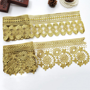 Sale by Yard Golden metallic thread flower high quality embroidery Lace Fabric Sewing costumes DIY Lace Trim H04 H07 H08 H09