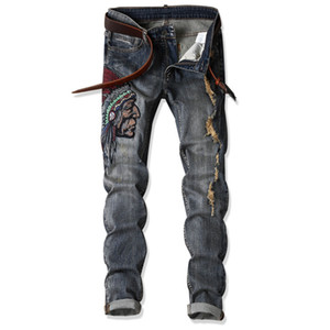 New Men's Jeans High Quality Designer Fashion Indians Embroider Retro Ripped Slim Street Straight Jeans Plus Size AF1701