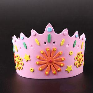 DIY Feito À Mão Cap Crianças Crianças Ajustável EVA 3D Crown Chapéu Para Festa de Aniversário Princesa Rei Chapéus New Arrival 2 1 pc BB