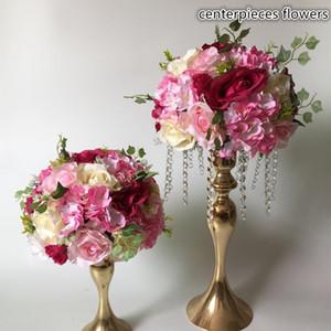 Yapay çiçekler koşucu Masa centerpiece çiçek topları düğün yol kurşun çiçek ortanca gül çiçekler dekorasyon